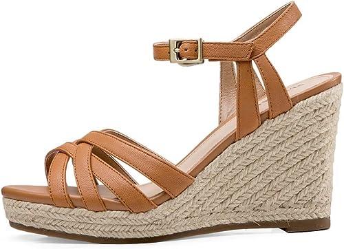 Hommesg Wei Shop Sandales Compensées Sandales pour Femmes Chaussures D'été pour Femmes Talons Hauts à La Mode Chaussures Plates Confortables Hauteur 8cm (Couleur   marron, Taille   38 US7)