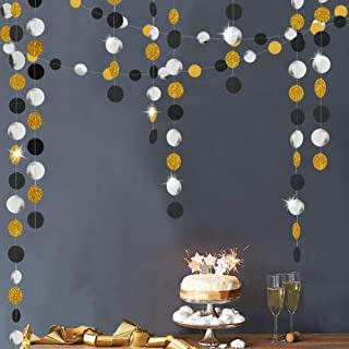 Gold Back Circle Dots Garland streamers for Party Decorations Glitter Black Hanging Bunting Banner Backdrop Decoration for Birthday/Wedding/New Year/Graduation Party Supplies