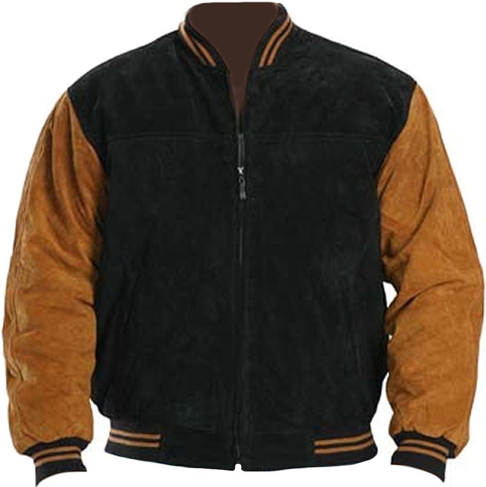 coolhides Men's Fashion Suede Leather Jacket Black & Brown