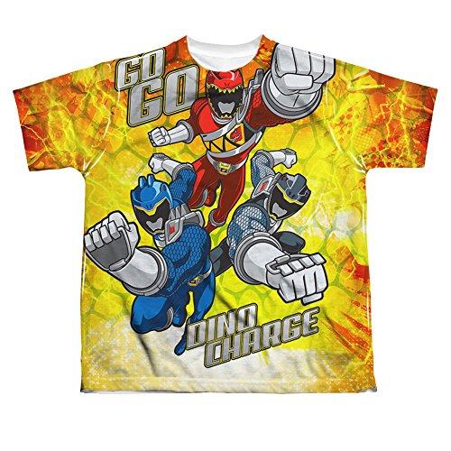 GO GO Power Rangers Dino carga de manga corta Big Boys Poly tripulación