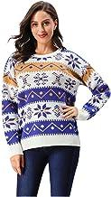 FEDULK Womens Ugly Sweater Christmas Sweatshirt Reindeer Snowflake O Neck Long Sleeve Xmas Pullover Tops