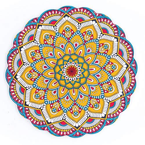 BOHORIA® Premium Design Topfuntersetzer – Dekorative Untersetzer für Vasen, Töpfe, Karaffen und Flaschen auf ihrem Esstisch aus Holz, Glas oder Stein (rund | 20cm) (Mandala Edition) (Taj Mahal)