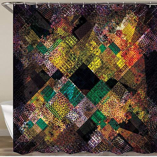 KGSPK Cortinas de Ducha,Estampado Colorido de Patchwork Abstracto con Parche Paisley Floral Bandana Pattern,Impermeable Cortinas Baño y Lavables Cortinas Bañera 180x180CM