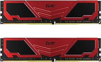 TEAMGROUP Elite Plus DDR4 16GB Kit (2 x 8 GB) 2666MHz PC4-21300 CL19 Unbuffered Non-ECC 1.2V U-DIMM 288 Pin PC Module Desktop Memory Memory Module Ram Upgrade - قرمز