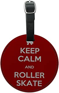 Graphics & More Keep Calm and Roller Skate Derby Round Leather Luggage Id Tag Suitcase Carry-on, Black