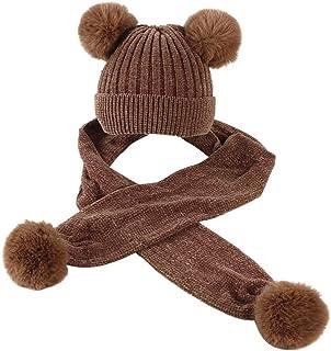 QKURT Bonnet Cache Cou Ensemble,Snood Enfant Bonnet Turban Bebe Fille pour l/âge de 5~12 Ans Filles Enfants