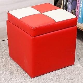 XBCDX Cube Faux Cuir Ottoman Tabouret de Rangement Pouf Banc siège, avec charnière Dessus Organisateur boîte Pouf Coffre S...