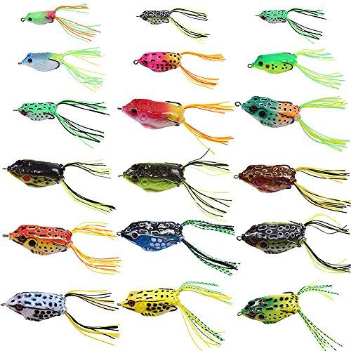 フロッグ ルアーカエル 18個入り トップウォーター バス釣り 雷魚 蛙 釣り餌 フック餌 ソフト ルアー