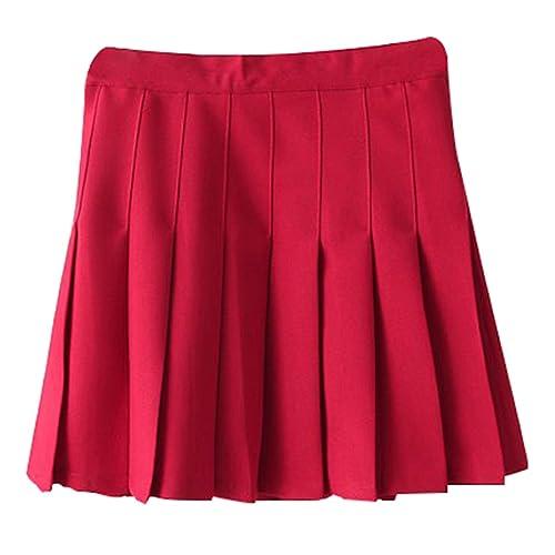 b2ba49ce87 Yasong Women Girls Short High Waist Pleated Skater Tennis Skirt School Skirt  Uniform With Inner Shorts
