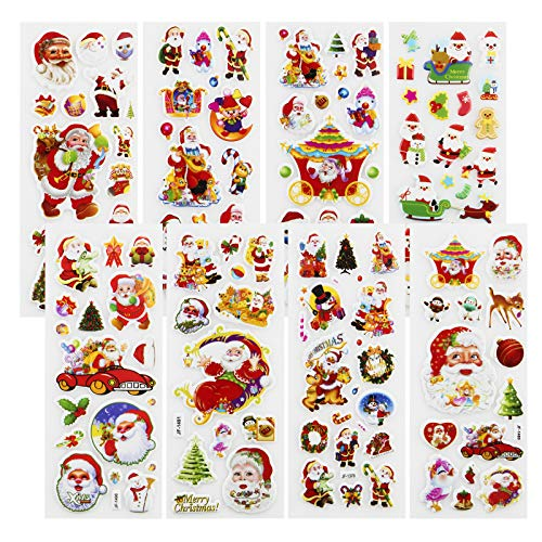 Meafeng 600pcs Christmas Stickers 28 Sheets Puffy Xmas Holiday Stickers with Santa Claus, Christmas Tree, Snowman, Reindeer, Christmas Wreath etc (Christms Stickers)