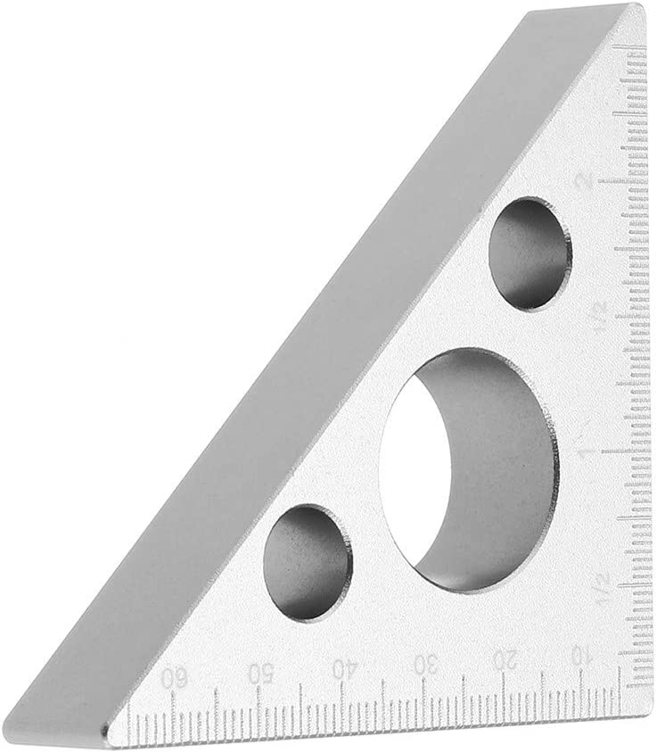 Doolland 90 Degrees Aluminum Alloy Height Ruler Metric Inch Woodworking Triangular Ruler,Small