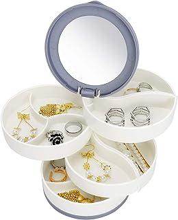 4-Layer Rotatable Jewelry Container Plastic Jewelry Storage Box with Mirror Lids Jewelry Accessory Organizer for Women Bra...