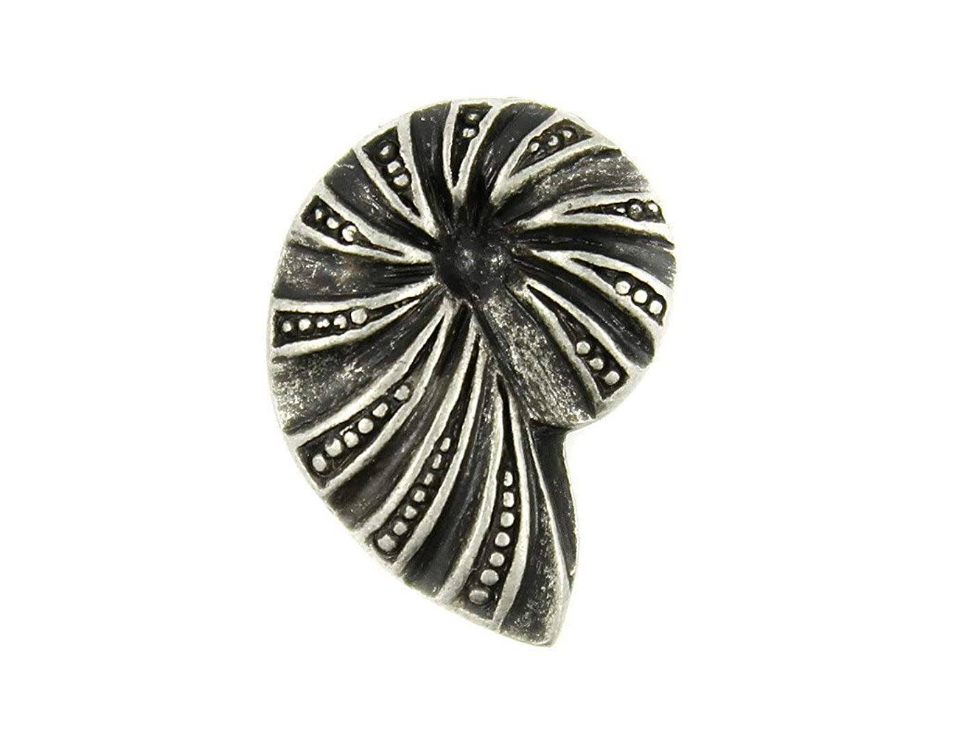 Bezelry 12 Pieces Ammonite Metal Shank Buttons 20mm X 14mm (Antique Silver)