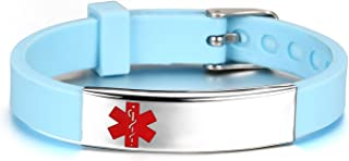 JF.JEWELRY Personalized Custom Engraving Stainless Steel Silicone Band Bracelet for Kids Adjustable Blue