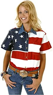 Roper Women's S/S Stars and Stripes Pieced Flag