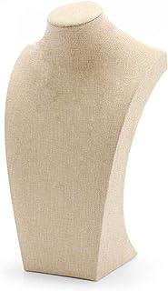 WERSHOW Beige Linen Necklace Bust Jewelry Display Stand Figure Jewelry Display Stand (30x17cm)
