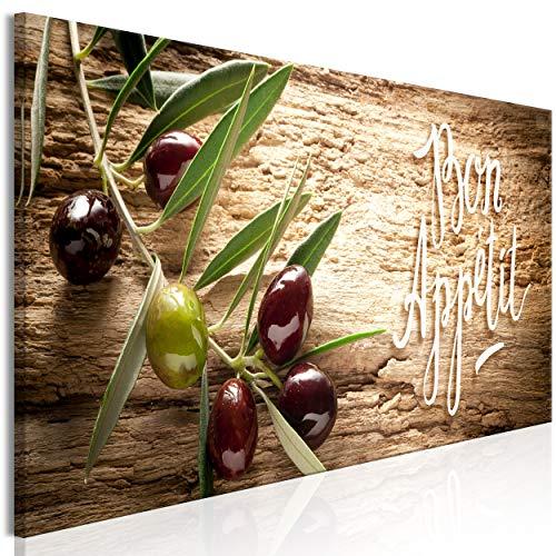 decomonkey Bilder Küche 120x40 cm 1 Teilig Leinwandbilder Bild auf Leinwand Vlies Wandbild Kunstdruck Wanddeko Wand Wohnzimmer Wanddekoration Deko Oliven Natur