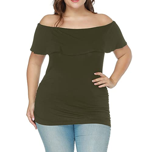 ed5b459b3a8 Allegrace Women Ruffle Short Sleeve Off The Shoulder Tunic Top Plus Size  Tee Shirt