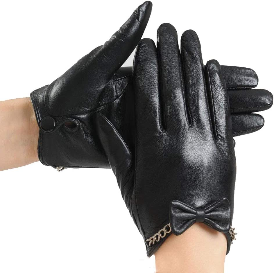 Gloves Winter Touch Screen Black Ladies Plus Velvet Thick Warm Five Full Refers to Riding Driving MUMUJIN (Size : XS)