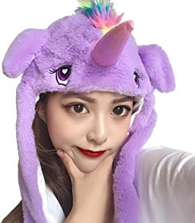 Mordarli Unicorn Ear Hat Plush Animal Hat Funny Headwear Bunny Movable Jumping Ears Hat Toys for Gifts Party