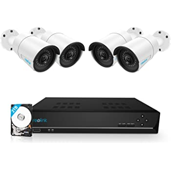 Reolink 8CH 5MP PoE Home Security Camera System, 4pcs Wired 5MP Outdoor PoE IP Cameras, 8MP/4K 8-Channel NVR with 2TB HDD for 24/7 Recording, RLK8-410B4-5MP