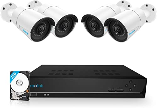 Reolink 8CH 5MP PoE Home Security Camera System, 4pcs Wired 5MP Outdoor PoE IP Cameras, 8MP/4K 8-Channel NVR with 2TB...