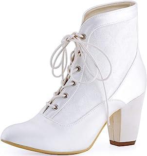 HC1528 Zapatos de Boda Mujer Botines de Novia Chunky Tacón Alto Punta Chiusa Satén Botas para Novia