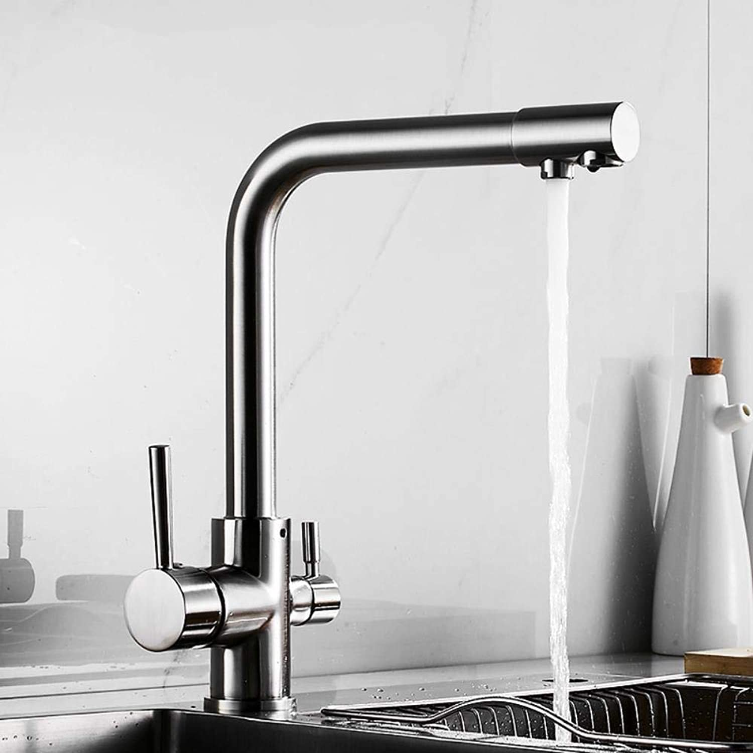 Qiongxi kitchen faucet hot and cold water mixing chrome brushed faucet gold, gold A