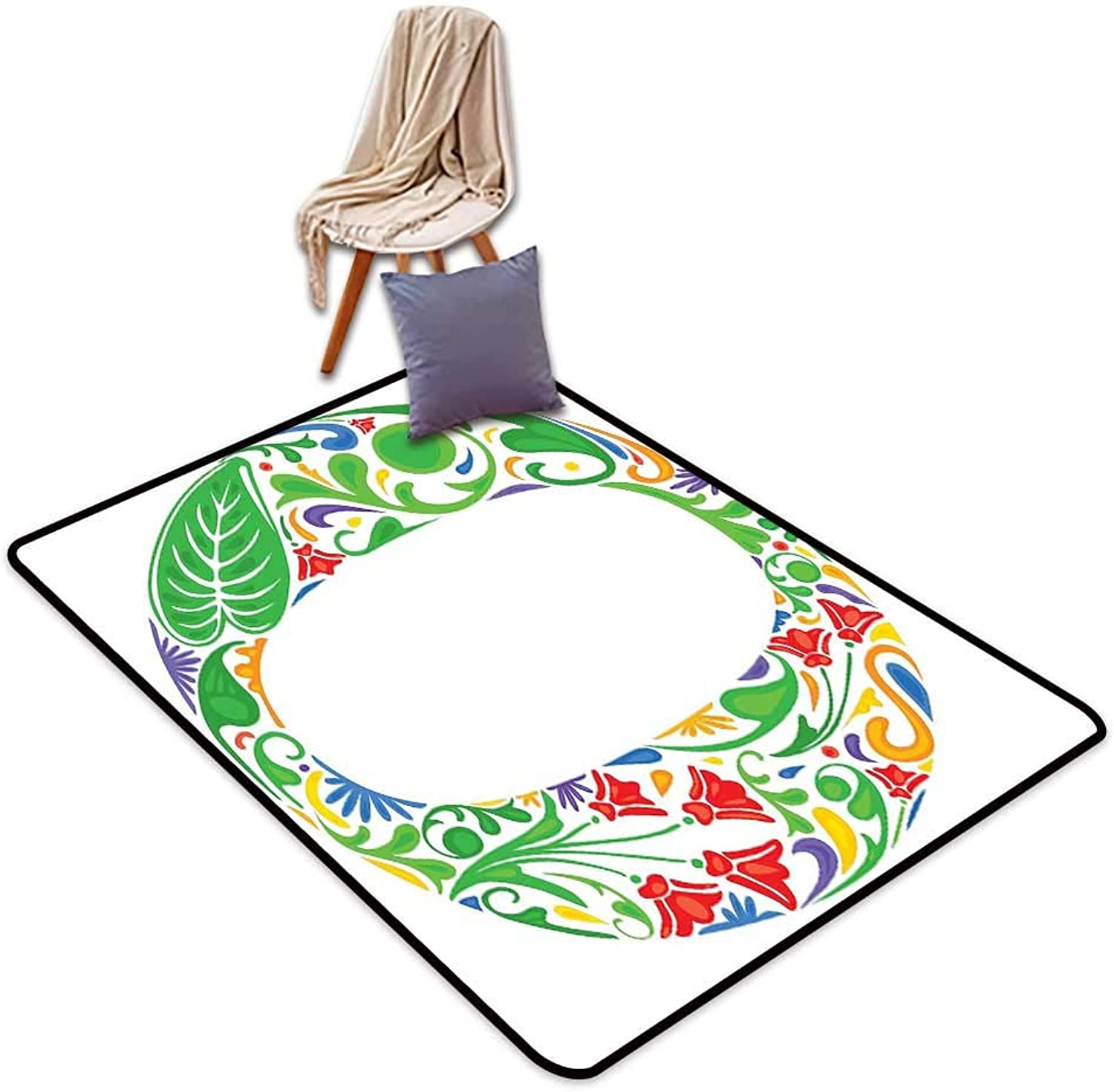 Indoor Super Absorbs Mud Doormat Letter O Floral Font O Circle with colorful Jungle Flowers and Big Leaves Vintage Natural W6'xL7' Suitable for Family