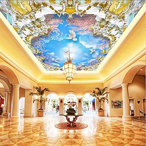 Pmhhc 3D-afbeelding Mural blauwe hemel bijanche kersen 3D Zenith Murales voor de camera behuizing kamerdeken papier 120 x 100 cm.