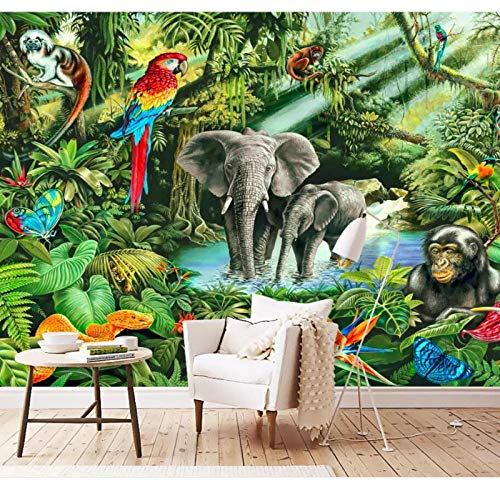 Photo Mural 3D Room Wall Paper,Monkey Elephant Toucan Children's Room Background Wall murals,Wallpaper for Wall 280 cm (W) x 180 cm (H)