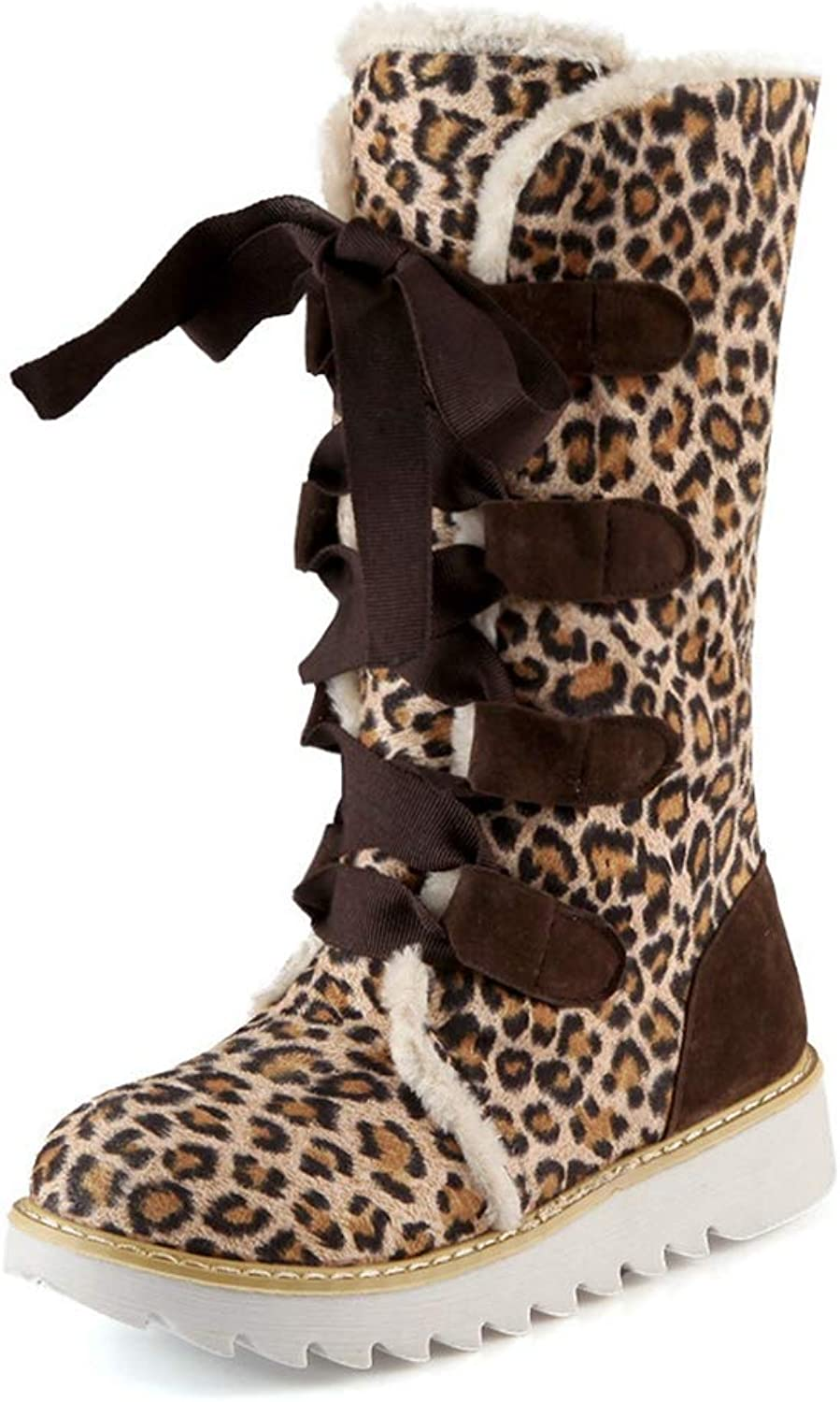 CYBLING Women's Winter Lace up Boots Outdoor Faux Suede Warm Fur Mid Calf Snow Boots