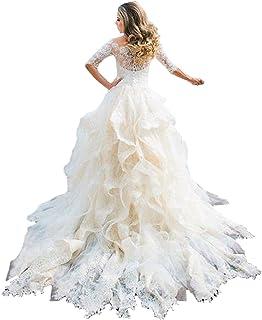 67a17e0b7331 Fair Lady Sexy Off Shoulder Lace Wedding Dress for Bride Ruffles Modest  Princess Wedding Bridal Gown