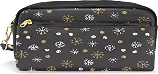 ALAZA Winter Snowflake Pencil Case Zipper PU Leather Cosmetic Makeup Bag Multifunction Pen Stationery Pouch Bag Large Capacity