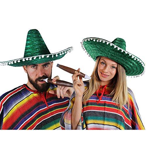 I LOVE FANCY DRESS LTD Mexikaner Paar KOSTÜM VERKLEIDUNG. 2 Ponchos + 2 GRÜNE SOMBREROS MIT KLEINEN WEIßEN Pompoms +2 Dicke Plastik ZIGARREN + 2 MEXIKANISCHE Selbstklebende SCHNURRBÄRTE