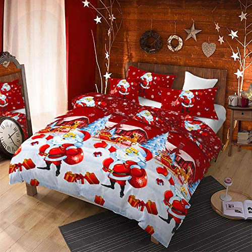 3Pcs Merry Christmas Santa Sack Duvet Cover Set King(104x90 inches),Santa Claus Gift Box Christmas Bedding Set,Snowfield Sleigh Deer Pinetree Snowflake Printed Bed Set for Xmas Gift(White,King)