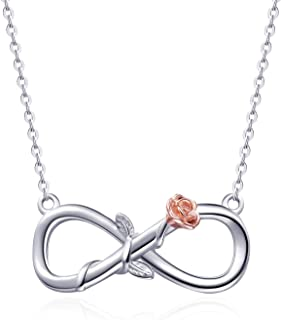 Infinity Necklace Sterling Silver Infinity Necklace Rose Flower Necklace Forever Love Infinity Necklaces for Women Girls
