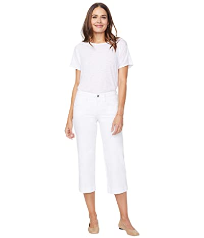 NYDJ Wide Leg Capri Jeans with Utility Pockets in Optic White (Optic White) Women