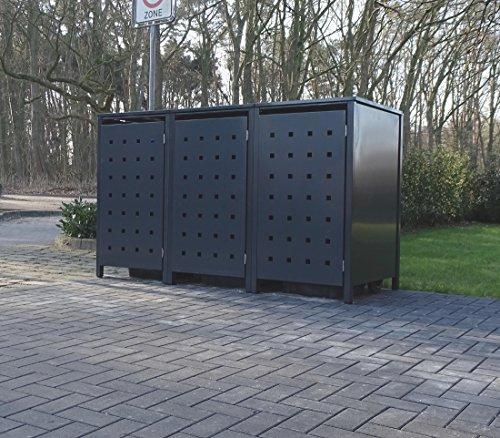 3 Mülltonnenboxen Modell No.2 für 240 Liter Mülltonnen / komplett Anthrazit RAL 7016 / witterungsbeständig durch Pulverbeschichtung / mit Klappdeckel und Fronttür