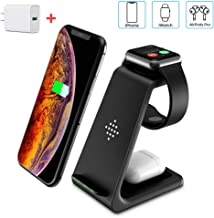 Wireless Charger Stand, CIYOYO 3 in 1 Fast Wireless Charging Station Dock for Airpods Pro 2 1, Apple Watch Series 5/4/3/2/1, iPhone 11/11 Pro/11 Pro Max Qi Certified Phones(with QC 3.0 Adapter)