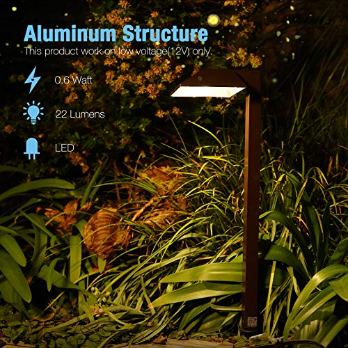 Product Image 5: GOODSMANN Path Lighting 8 Pack LED Low Voltage Landscape Lights 0.6 Watt with Metal Stake and Connector 22 Lumen Warm White Landscape Light