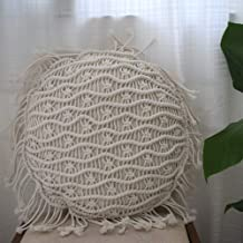 Hoplee Macrame Cushion Cover Handmade Round Pillow Cover for Home Decor 16x16 Inch 1 Pack