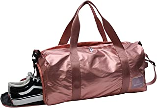 HICCUPfish Gym Bag Dry Wet Separated Duffel Training Bag with Shoes Compartment for Man and Women (Pink1)