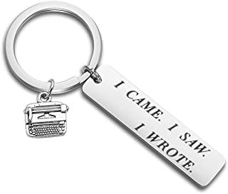 ENSIANTH Writer`s Keychain I Came I Saw I Wrote Keychain Typewriter Jewelry Literary Keychain Novelist Author Gift