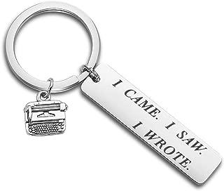 ENSIANTH Writer's Keychain I Came I Saw I Wrote Keychain Typewriter Jewelry Literary Keychain Novelist Author Gift