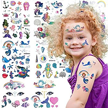 Mermaid Temporary Tattoos for Kids Girls Boys Glitter Birthday Party Favor Supplies - 100+ Children Under the Sea Party Goodie Bags Filler Stickers Holo Silver Mermaid Scale Tail Costume Decoration