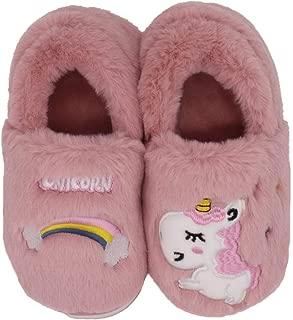 Cute Unicorn Slippers Winter Warm Soft Cozy Memory Foam Plush Fleece House Slippers for Girls Boys(Toddler/Little Kids)