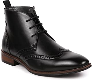 Metrocharm MC116 Men's Lace Up Perforated Wing Tip Formal Dress Ankle Boots