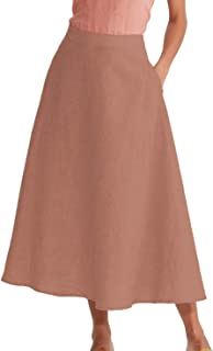 Women's Linen High Waist A-line Flared Long Skirt with Pockets Summer Casual Maxi Skirt
