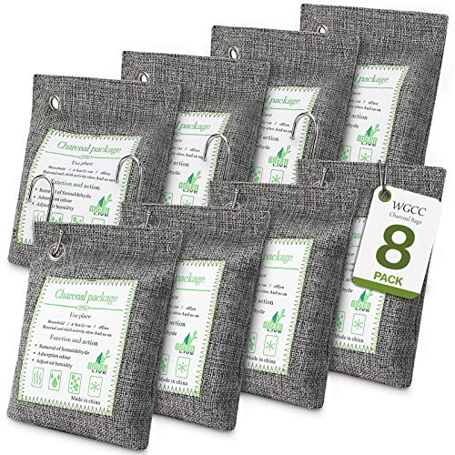 WGCC 8Pack Activated Bamboo Charcoal Air Purifying Bags 200g, Odor eliminator Charcoal Bags Odor Absorber Nature Fresh Bags - Kid & Pet Friendly Air Fresheners for Home, Car, Closet, Pets and Basement